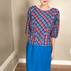 Vintage Blue Plaid Tapered 3/4 Top Shirt Blouse